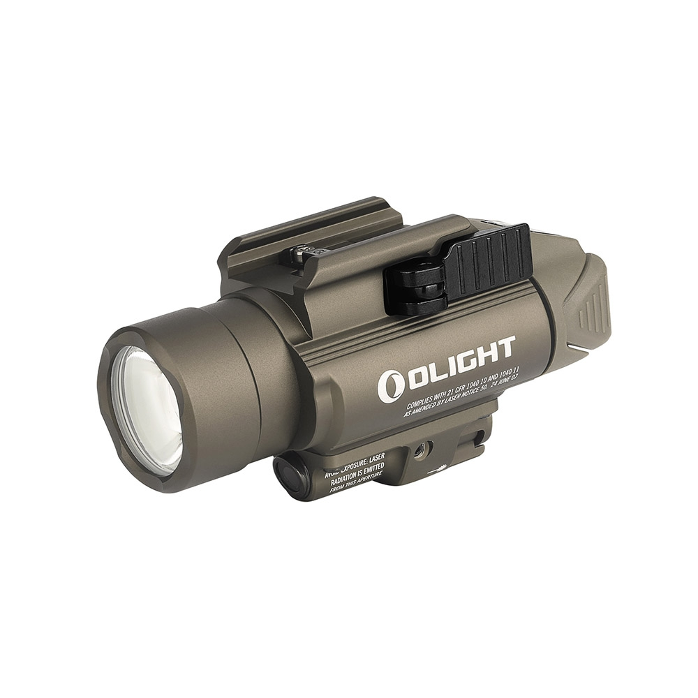 Olight BALDR Pro 1350 lumen rail mount light with green laser - Tan