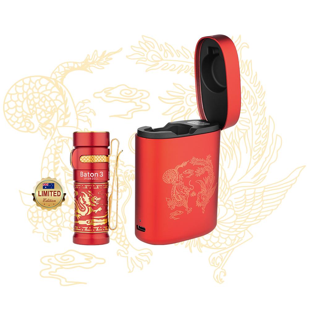 Olight Baton 3 Premium Edition Dragon and Phoenix EDC Torch