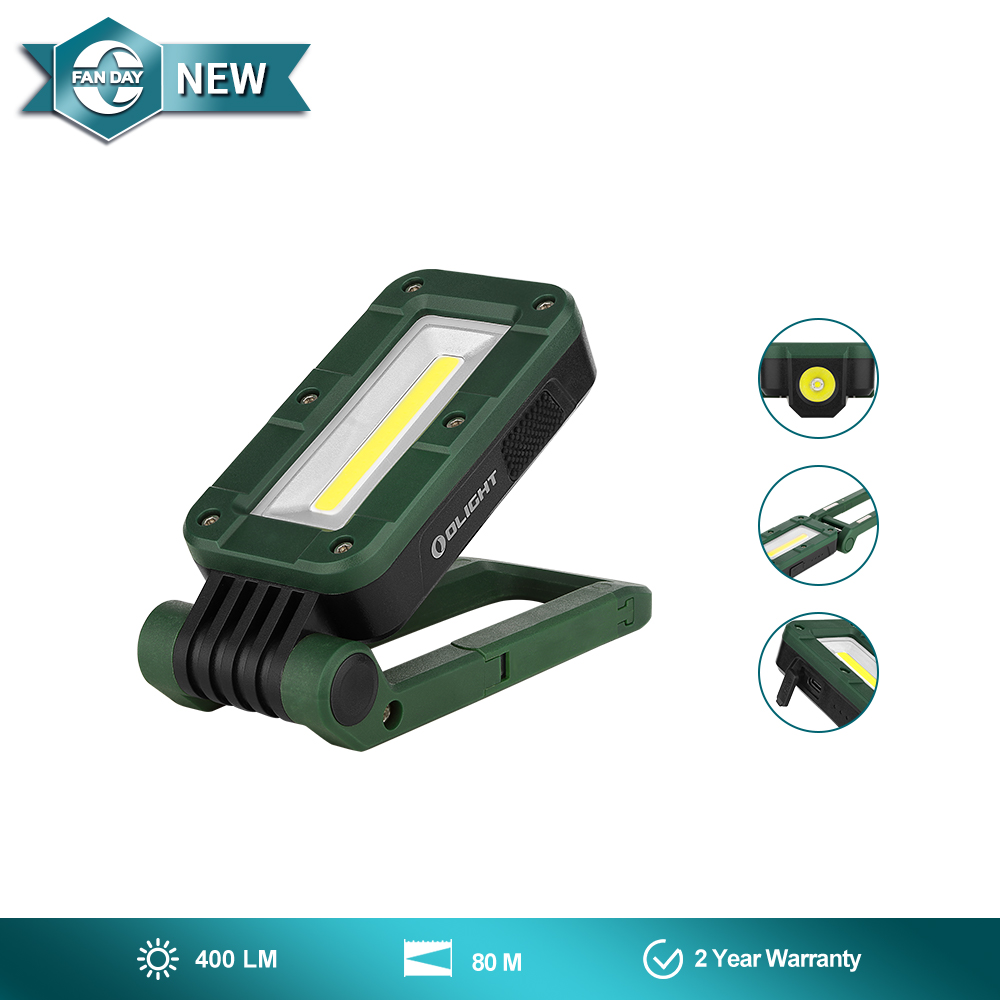 Olight Swivel Green  Foldable COB+LED Work Light
