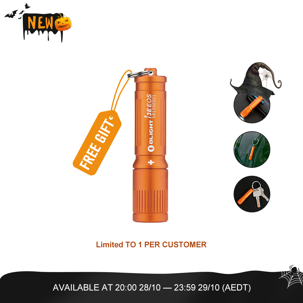 Olight i3E EOS (Orange) - USB Rechargeable Keyring Flashlight with AAA Battery