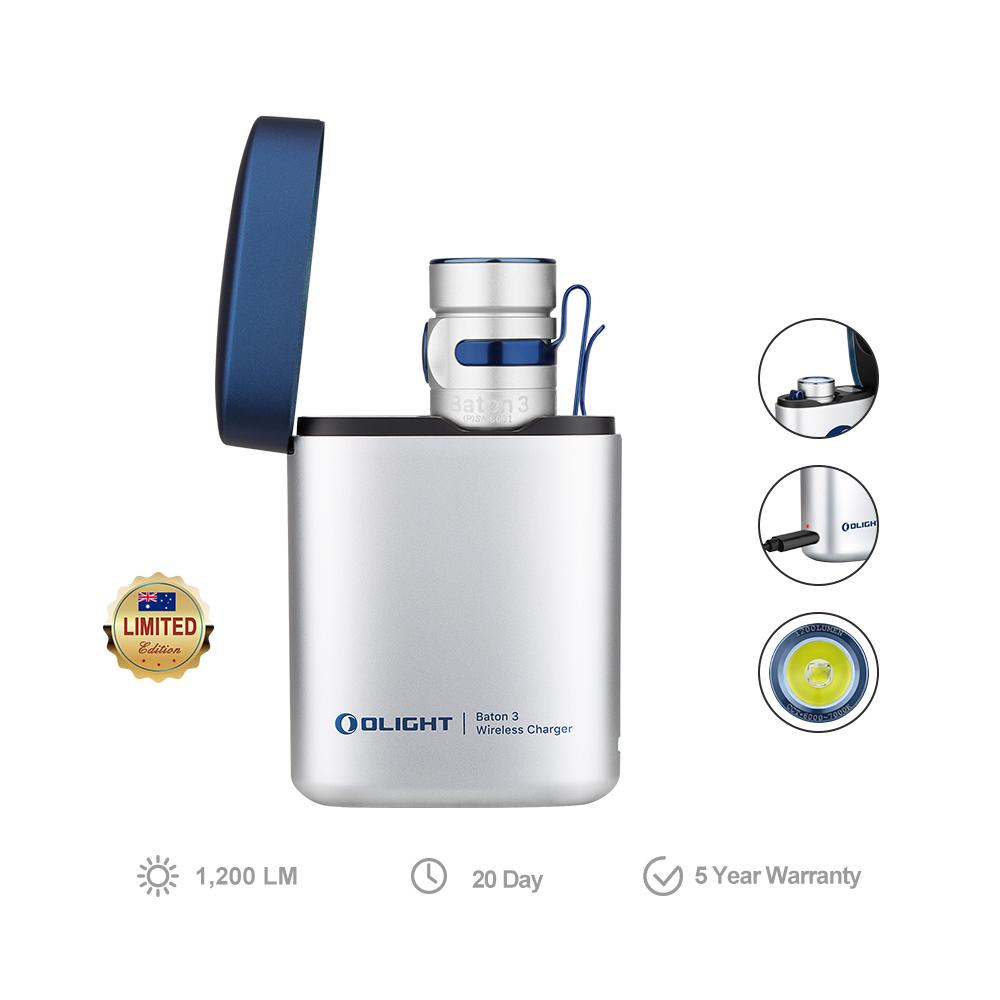 Olight Baton 3 Rechargeable Flashlight - Silver Color Premium Edition