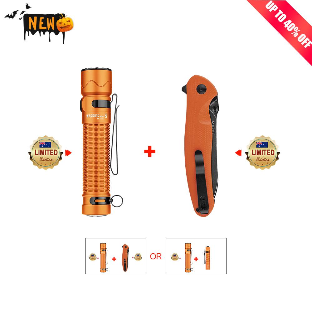 Olight Warrior Mini 2 Orange+I5R Orange or Drever Orange Bundle