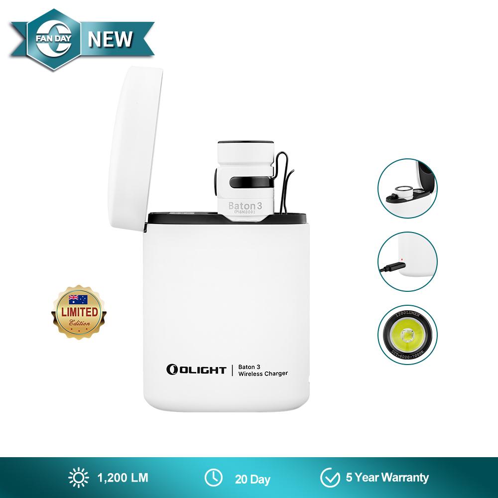 Olight Baton 3 Rechargeable Flashlight - White Premium Edition